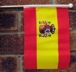 SPAIN (WITH CREST) - HAND WAVING FLAG (MEDIUM)
